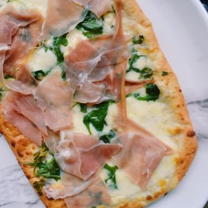Trader Joe's Burrata, Prosciutto, and Arugula Flatbread Pizza